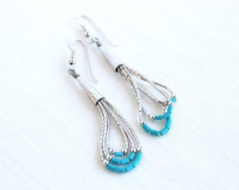Liquid Silver Dangle Earrings Vintage Southwestern Beaded Turquoise Colored Dangles Gift for Her Under 15