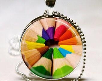 RAINBOW COLORED PENCILS Charm Necklace Photo Artist Gift art major art teacher gift Altered Art Pendant