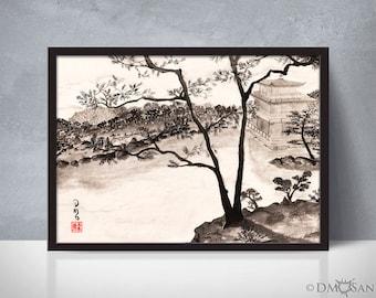 Kyoto, Japan - sumi-e watercolor painting - 5x7 (Print)