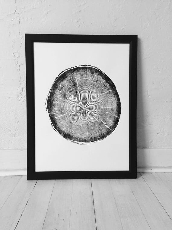 Big Cottonwood Canyon, Tree Ring Print, Woodcut, Utah Art, Botanical Print, Father's Day Art, arborist art gift, Dendrology, Hand pressed