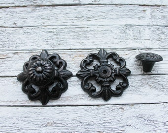 Rustic Wall Decor Distressed Metal Knob Rustic Bathroom Decor -Hand Painted In Victorian Black-Round Knobs-