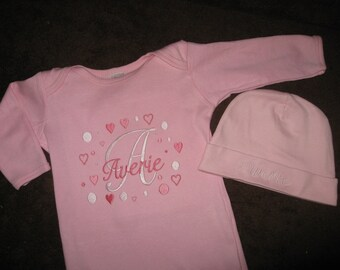 Personalized Baby Infant Girl newborn gown and hat set hearts and dots