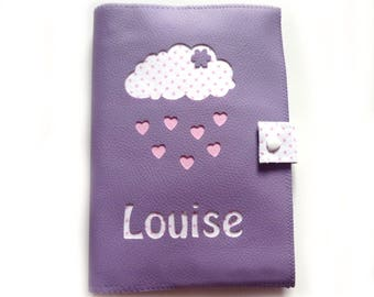Faux leather purple cloud and heart health book