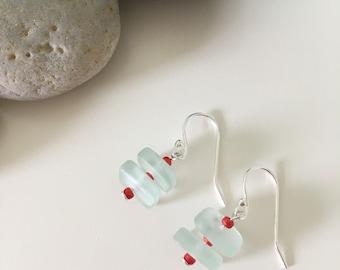 Sterling Silver Sea Glass Earrings- Seafoam Dangle with Red