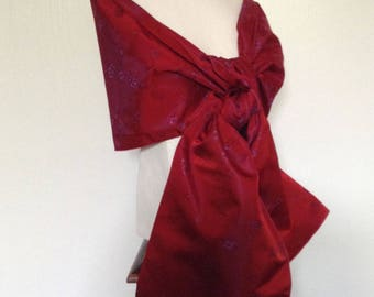 Wedding shawl / stole changing ceremony in red taffeta