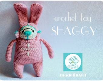 Crochet Rabbit SHAGGY PINK