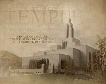 Draper UT  LDS Temple Print 16x20