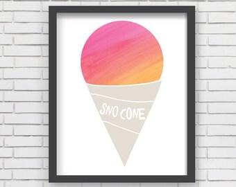 Watercolor Sno Cone Home Decor Nursery Wall Art - Pink Sno Cone - 8x10 or 11x14