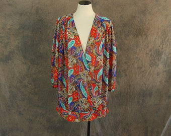 Clearance SALE vintage 80s Chiffon Blouse - 1980s Sheer Paisley Wrap Shirt Sz L XL 2XL