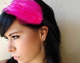 hot pink feather headband or hair clip - bohemian feather fascinator - bridesmaid hair accessory - hair accessories for women - MAGGIE