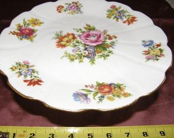 Vintage Leclair LIMOGES FRANCE Footed PEDESTAL Base Floral Cake Plate Gold Gilt Rim