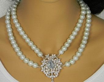 Vintage Rhinestone Brooch  2 Strand Pearl Necklace, Pearl Bridal Necklace Art Deco Wedding Necklace Bridal Statement Necklace