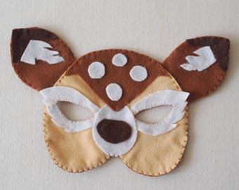 FElt animal mask.FAWN-hand made artwork.Perfect for the Carnival ,a birthday party or as a ornament on a shelf-Educational toy.Collect them!