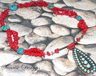 Red Glass Necklace, Chip Necklace, Turquoise Blue Nuggets, Western Jewelry, Southwestern Necklace, Pendant Necklace, Statement Jewelry