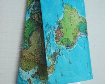 Linen Tea Towel - Vintage World Map, Made to Order