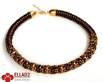 Tutorial Diamond Duo Necklace-Beading Tutorial, Beading Pattern, Ellad2, Instant download