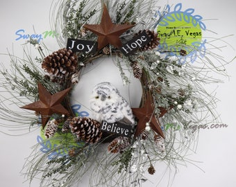 Woodland Owl Christmas Wreath, Grapevine Christmas Wreath, Rustic Holiday Decor,  Christmas Wreath Owl,  Winter Wreath, Winter Owl
