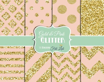Gold and Pink, Glitter, Sparkling, Chevron, Stripes, Polka Dots, Digital Paper, 12x12, Scrapbook