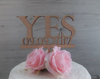 cake topper with date 'Yes' - wedding, cake figurine / wedding