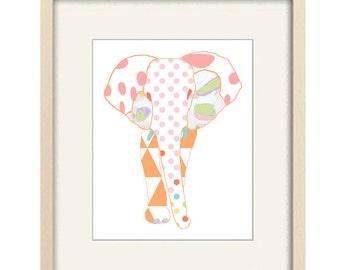 elephant nursery wall art, baby nursery decor, elephant print, elephant decor, baby girl nursery, jungle nursery art baby decor elephant art