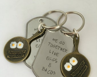 Best Friend Keychains - We Go Together Like Eggs and Bacon Keychain