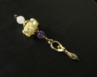 Rose Quartz and Amethyst Moonlit Flower Birth Goddess Blessingway bead - Mother Blessing bead, baby shower gift, pregnancy gift, doula gift