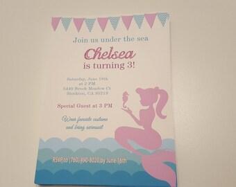 Mermaid birthday invitations | Mermaid invitations | Mermaid party invitation