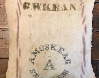vintage feed/grain sack pillow