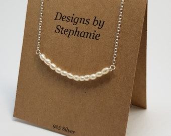 Genuine Freshwater Pearl Necklace. Delicate Pearl Necklace. Small Bar Necklace. 925 Sterling Silver, Dainty Necklet - Designs by Stephanie