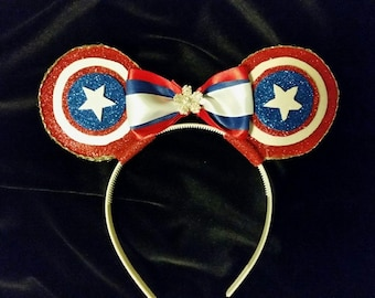 Patriotic America ears headband with bow