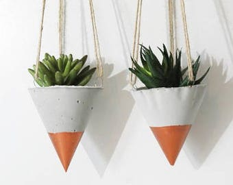 Copper Concrete Planter/ Hanging planters /Modern Planter / Succulente Planter /Air Plant Holder/Home decor / Hanging planter / Gift for her