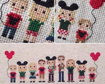 Disney Trip Cross Stitch Portrait - Vacation Commemorative Gift - Disney Vacation Photo Gift - Photo To Art Custom Gift -
