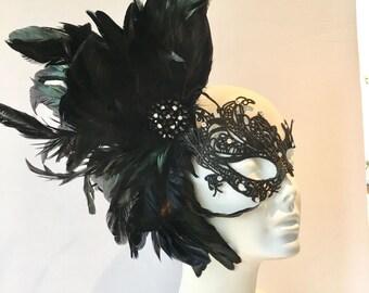 Black Lace Mask -Black Masquerade Mask- Feather Mask -Masquerade Mask- Mayors Masked Ball -Costume Party- Masquerade Ball- Mardi Gras Mask