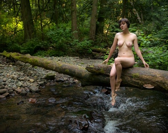 Naked in nature - female color or bw artistic nude - The Lady of the Creek 06