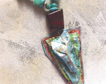 Turquoise collage upcycled artist palette in spring colors