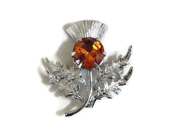 Traditional Celtic Scottish Thistle Brooch With Amber Rhinestone Vintage