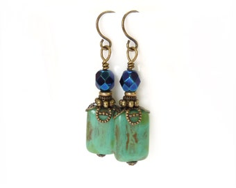 Turquoise Boho Earrings - Picasso Glass Rectangles - Metallic Blue Czech Beads - Antiqued Bronze - Blue Earrings - Free Shipping