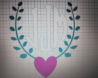 Heart leaf monogram