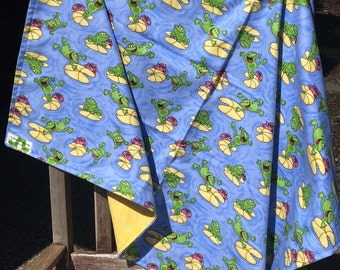 Flannel Baby Blanket / Kid Car Blanket - Frogs on Lily Pads, Personalization Available