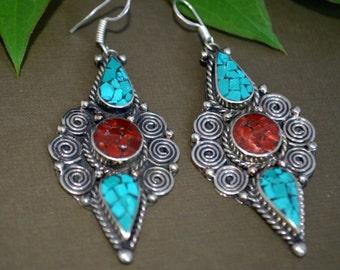 Turquoise Earrings,Navajo Silver Earrings, Artistic jewelry,Gemstone Earrings,Tribal Minimalist Unique Jewelry by Taneesi