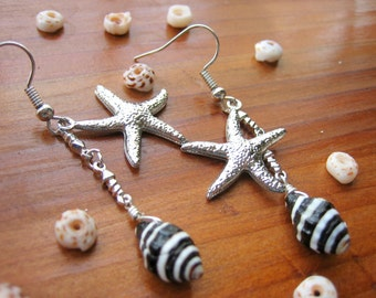 Starfish and Seashell Earrings, Starfish Dangle Earrings, Striped Seashell Dangle, Beach Jewelry, Seashell Jewelry, Beach Wedding Jewelry