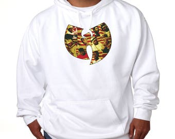 Wu Tang Clan Group Logo Hoodie Vintage Style Classic Hip Hop Hooded Sweatshirt Method Man RZA GZA ODB East Coast Rap Raekwon 36 Chambers