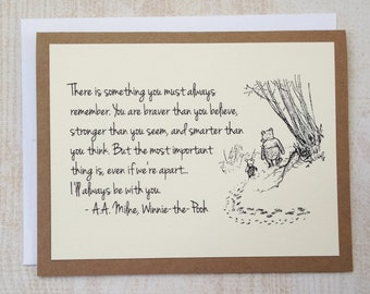 SET OF 4 Always Remember - Winnie the Pooh Quote - Classic Piglet and Pooh Note Card Cream On Kraft Brown