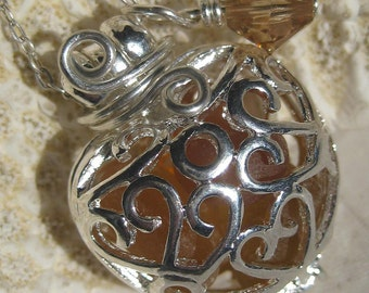 Sea Glass Necklace- Amber Mermaids Tears Heart Locket-PLus Coupon