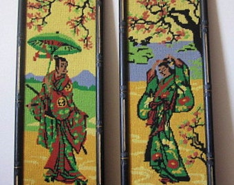 Vintage 70s Pair of Framed Asian Needlepoint Wall Hangings