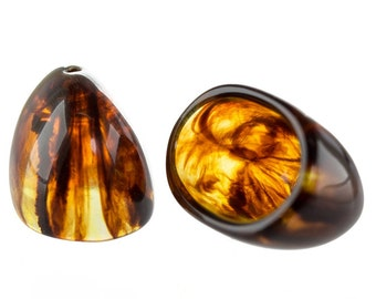 24x16 tassel bead in tortoise 2Pcs