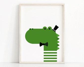 Crocodile Nursery Print, Kids Art Print, Instant Download Printable Nursery Art, Animal Nursery Decor, Printable Kids Wall Art, Kids Print