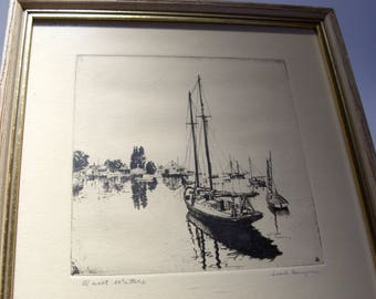 "Lionel Barrymore Etching Titled ""Quiet Waters"" Wood Framed Under Glass Great Gift"