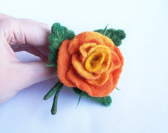 rose bouquet brooch pin Multicolor orange, red, yellow Bright accessory Elegant Wedding accessory jewelry Flower floral pin