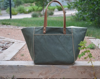 Waxed Canvas Tote with Leather Handles and Organic Cotton Lining